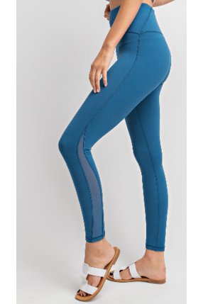 Mesh cutout yoga leggings in teal