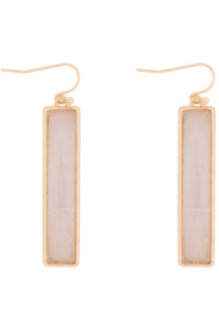 Bar Drop Earrings In White