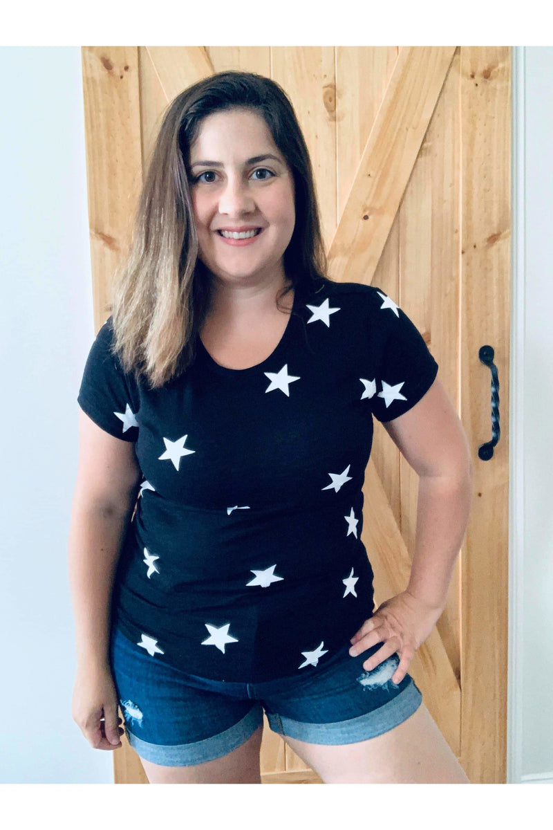Seeing stars crew neck tee in black