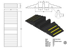 R229 Rubber Hose and Cable Ramp (820 x 310 x 102 mm)