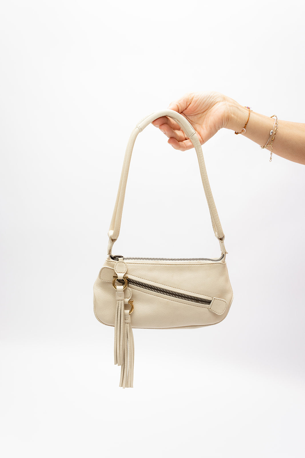 Ferragamo Cream Leather Bag
