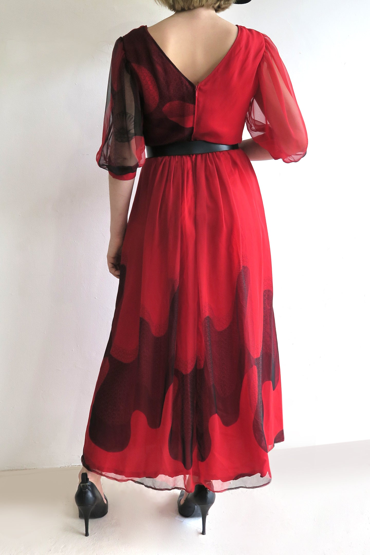 1970s Chiffon Belted Midi Dress