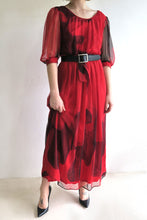 Load image into Gallery viewer, 1970s Chiffon Belted Midi Dress