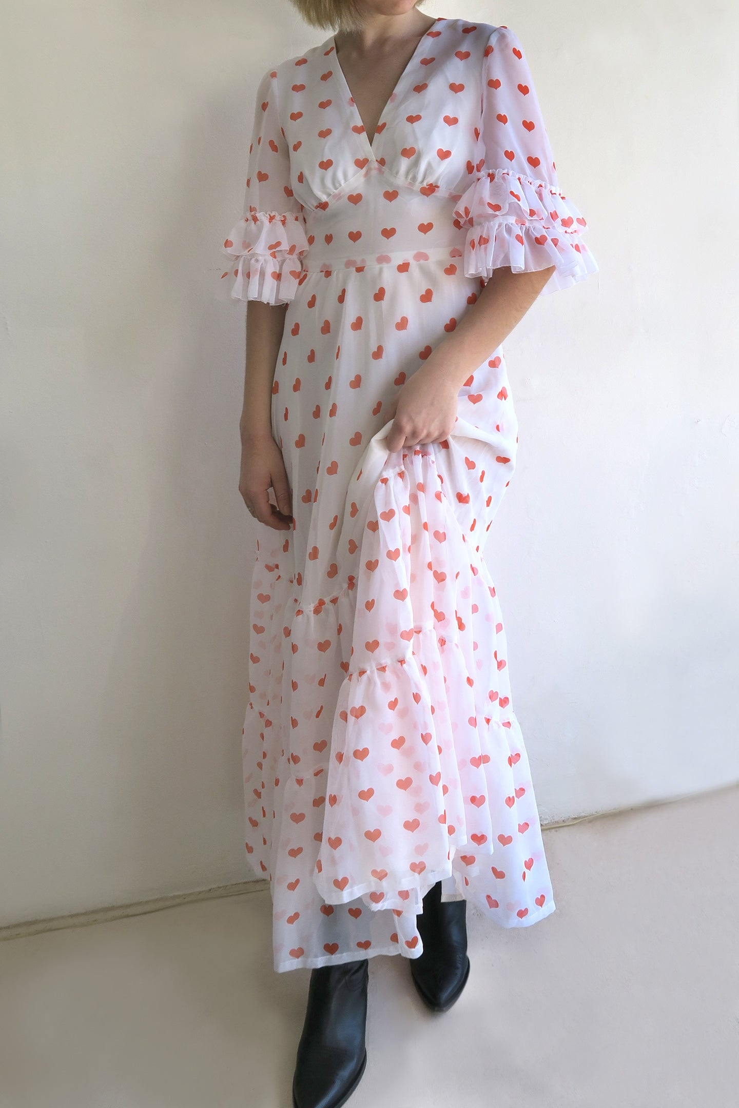 1970s Ruffle Maxi Dress