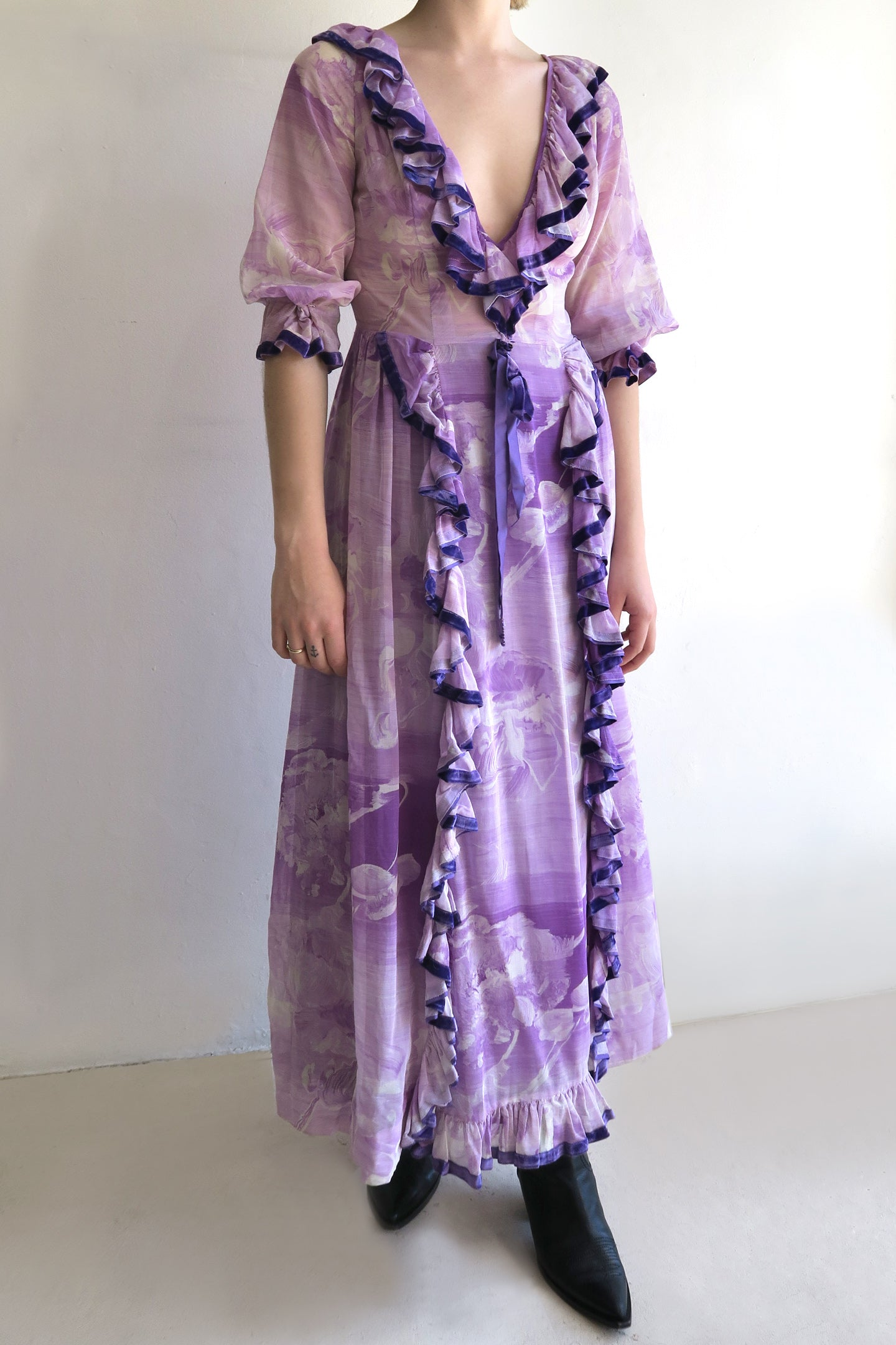 1970s Floral Ruffle Maxi Dress