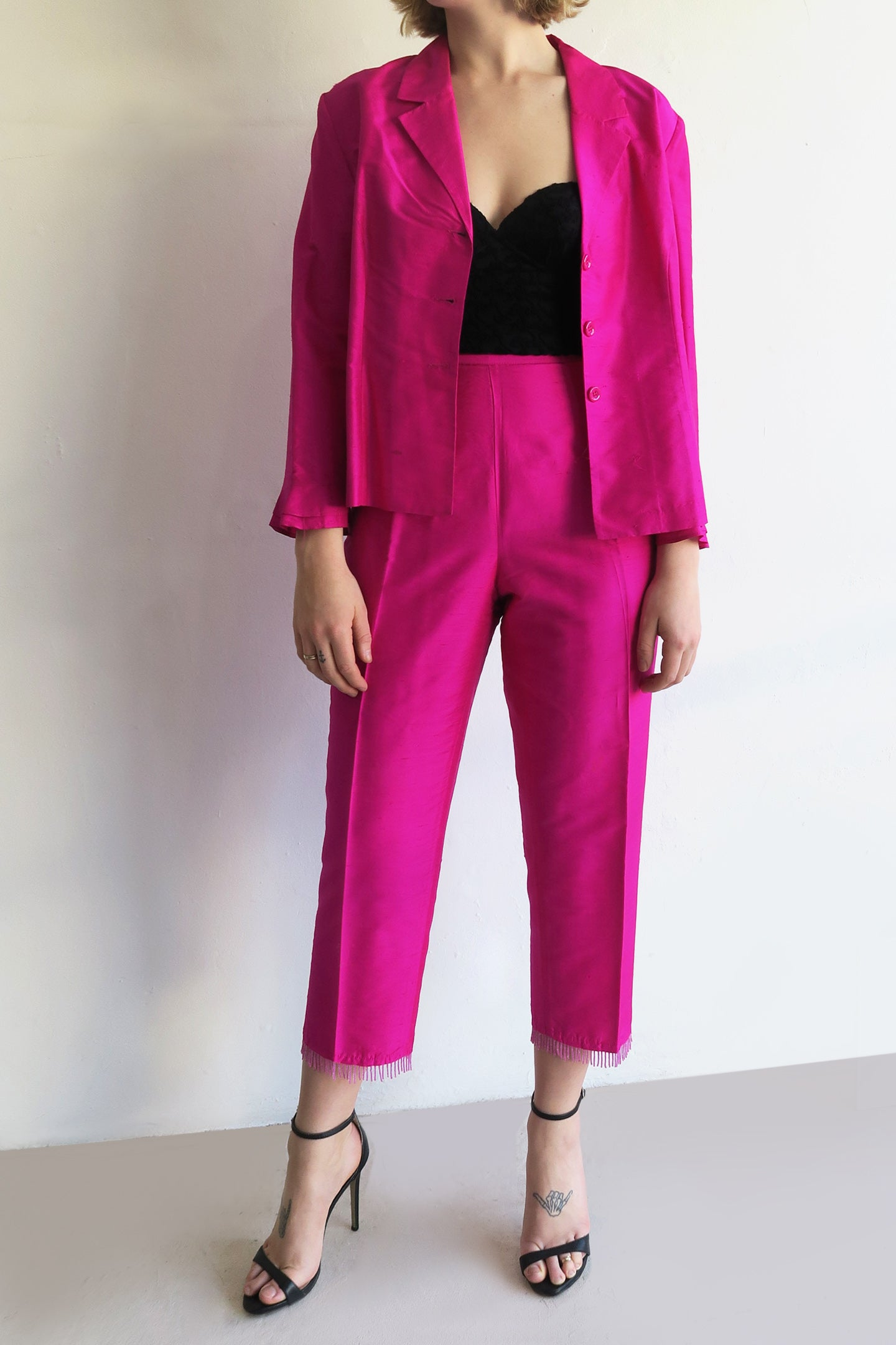 1990s Hot Pink Silk Two Piece