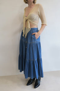1980s Denim Midi Skirt