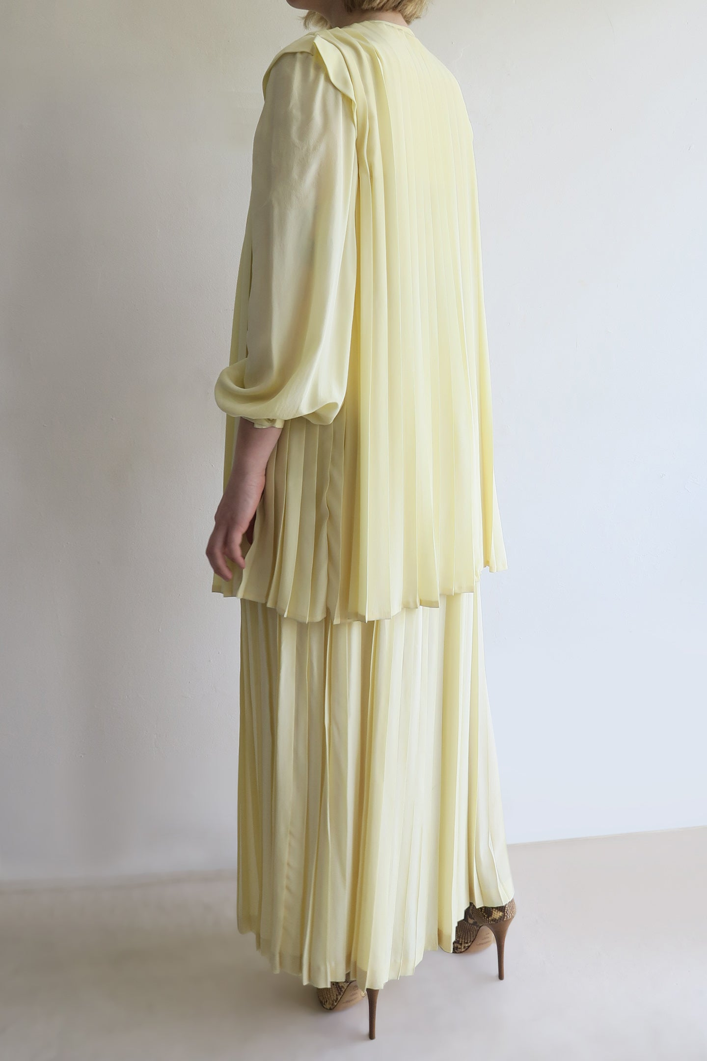 1980s Silk Pleated Maxi and Cape Set
