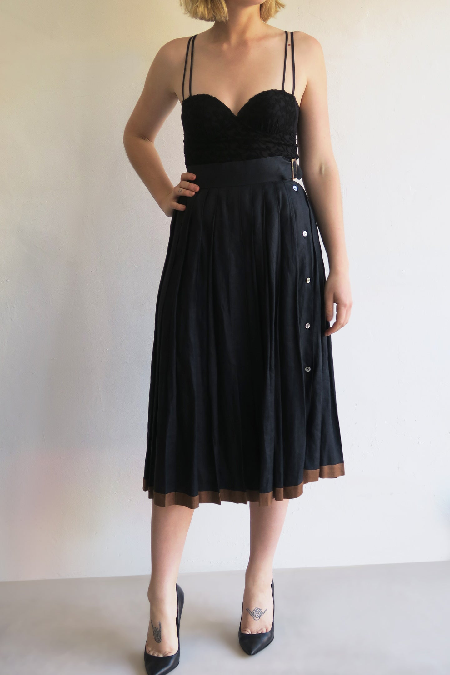 1990s Linen Pleat Skirt