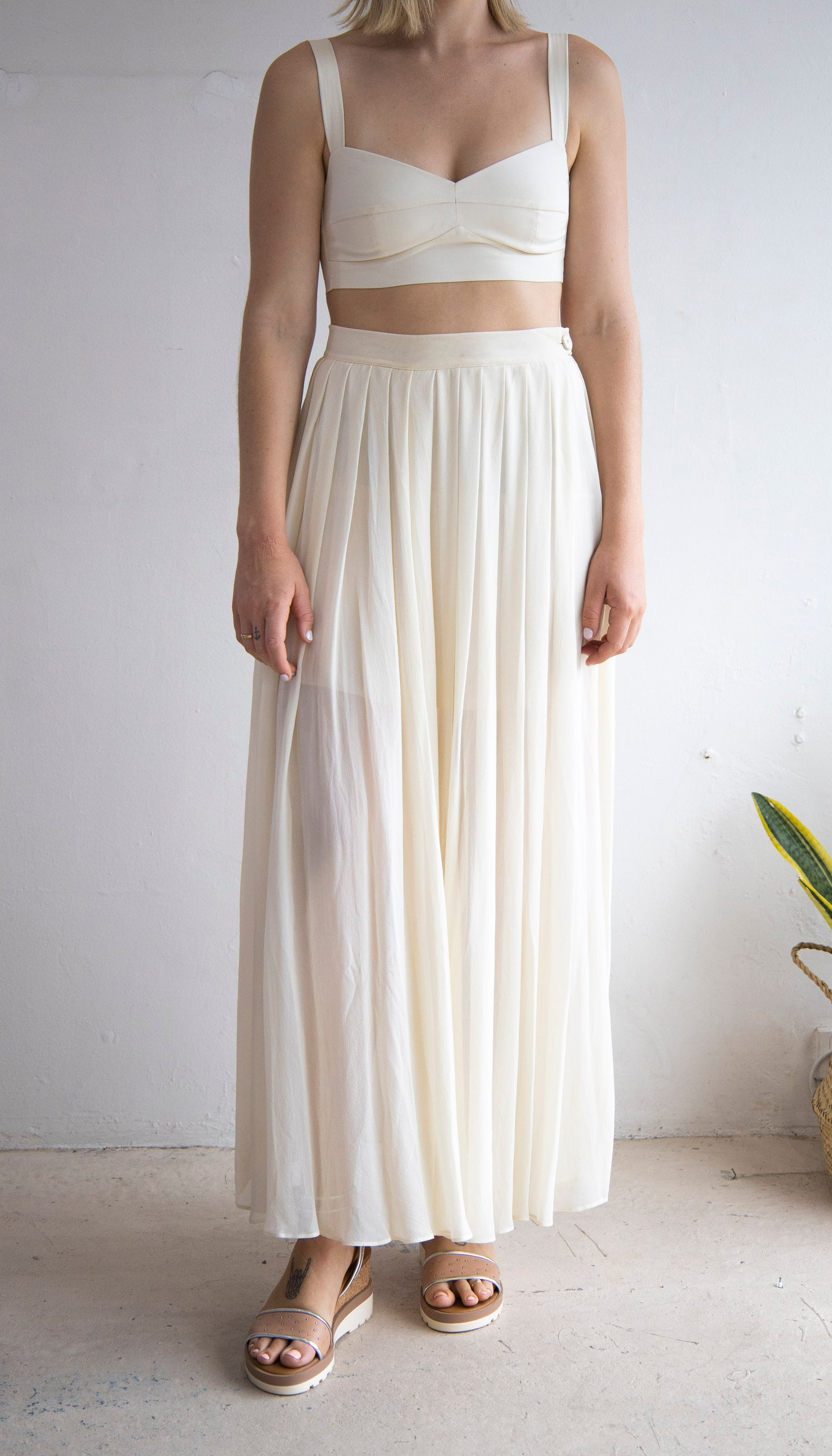 Lee Mathews Silk Pleated Maxi Skirt