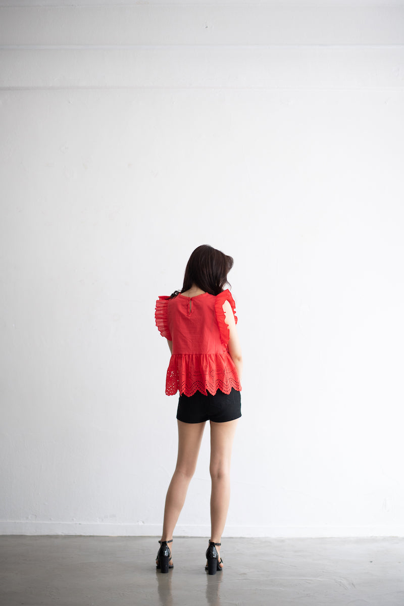 Wide Flared Frill Sleeveless Blouse
