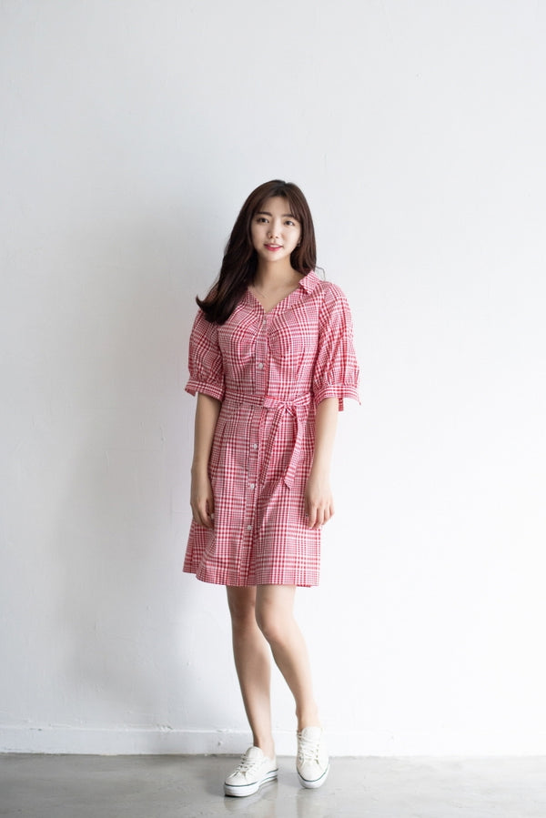 Cute Checked Short Dress With A waist String