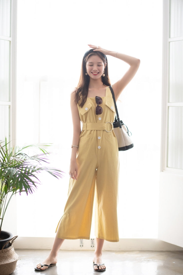 Casual Belted Overall Jumpsuit