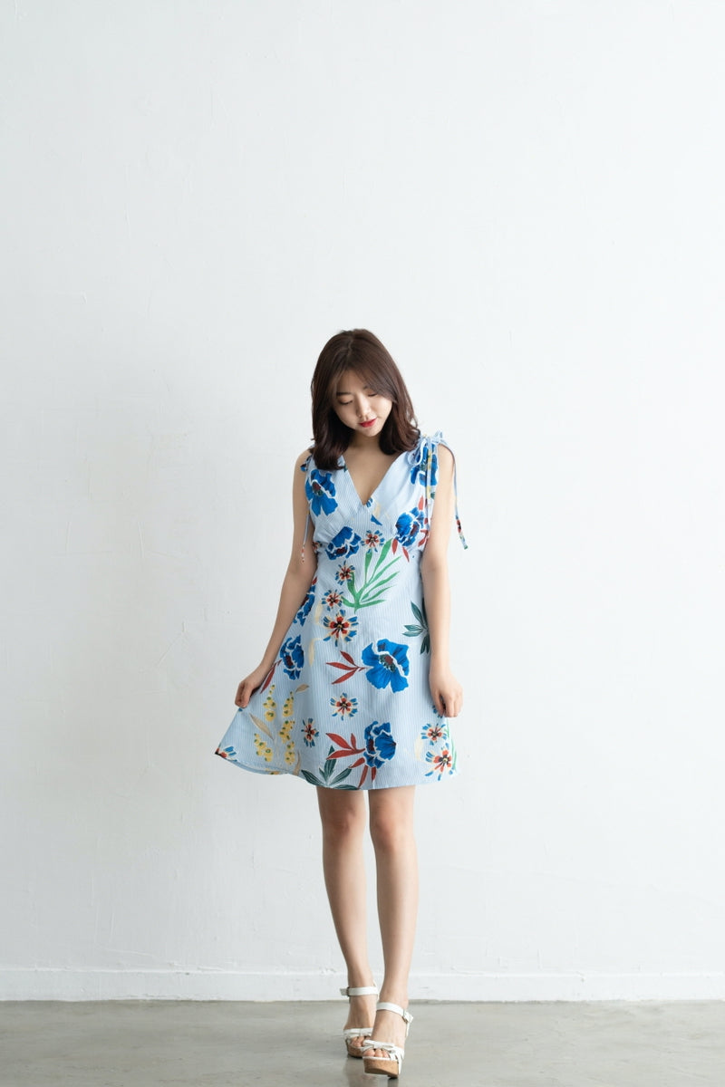 Sleeveless Flower Printed Striped Dress