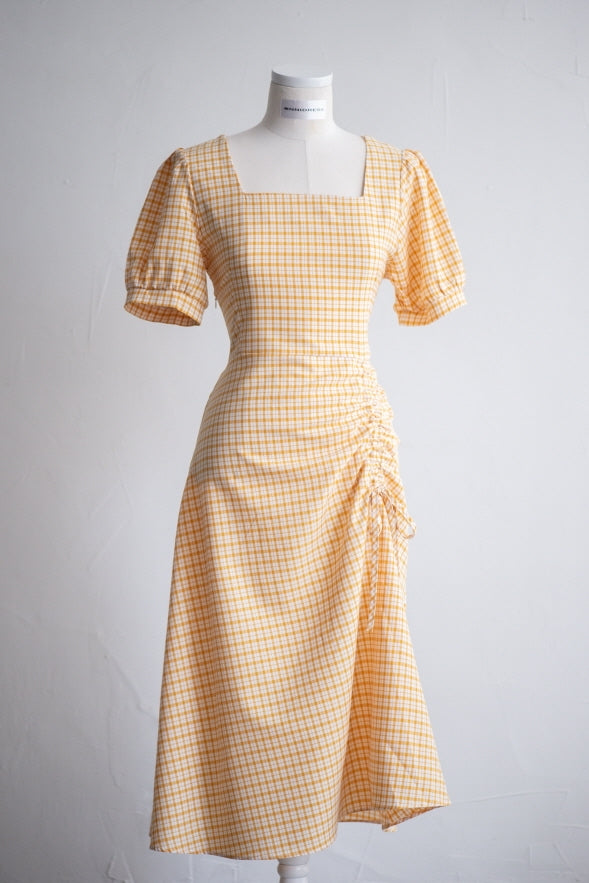 Checked Unbalanced Shirring Dress
