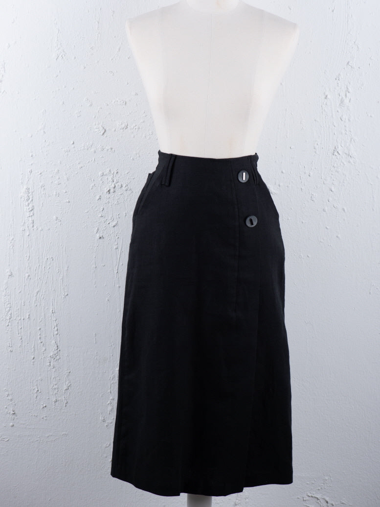 Midi Two Button Side Skirt