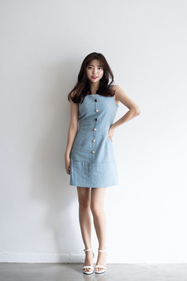 Omo-Omo Buttons Sleeveless Dress