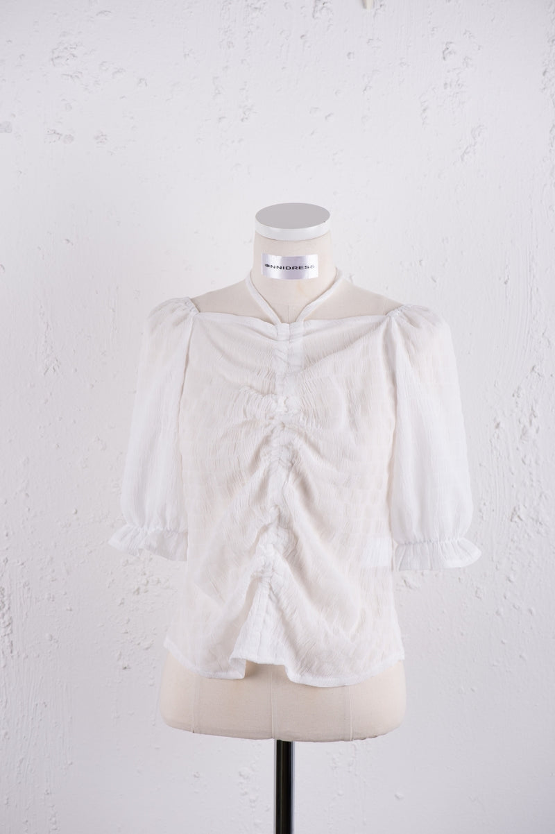 Cute Blouse with Ruffle Trim front