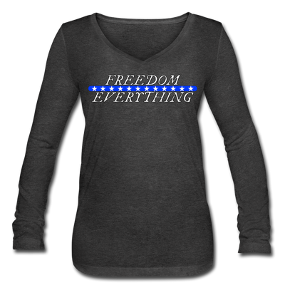 Freedom Over Everything Ladies Long sleeve - deep heather