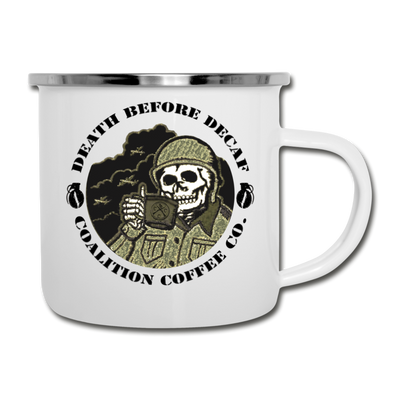 Enamel Death Before Decaf 12oz Mug - white