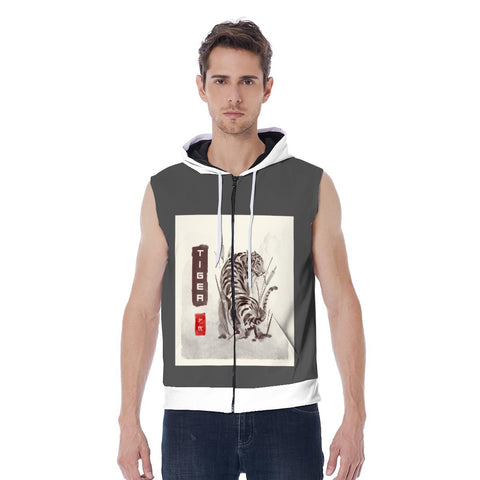 Sudadera con capucha sin mangas Hombr3 Tig3r Zipper-up sleeveless hoodie - Accesorios Hombr3
