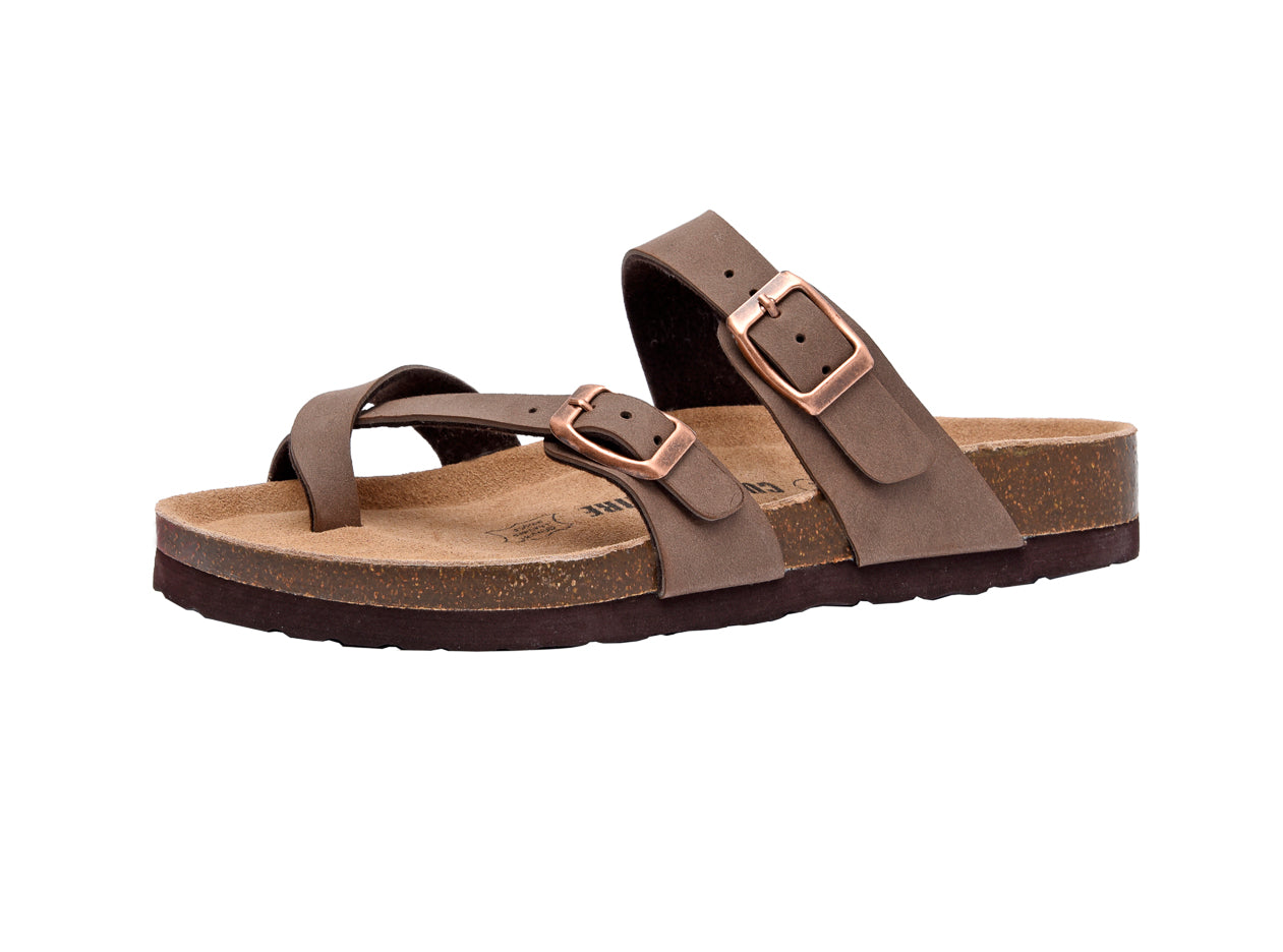 CUSHIONAIRE Womens Lela Cork Footbed Sandal with Comfort