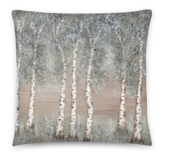 Designer Afternoon Aspen Cushion Throw Pillow. Tall Aspen/Birch trees on both sides of the custion