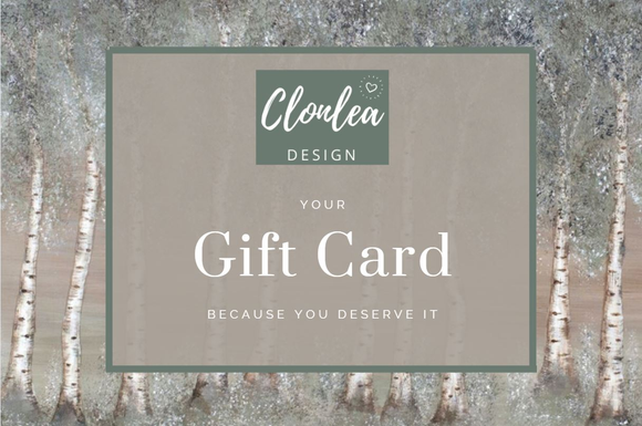 Gift Card for Clonlea Design, creator of interior art, homeware and textiles.