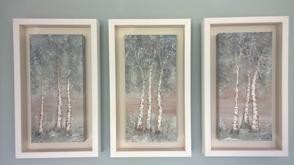 Afternoon Aspen Tryptic Limited Edition Individually Handmade White Wooden. Made in Co Wicklow Ireland.Frame
