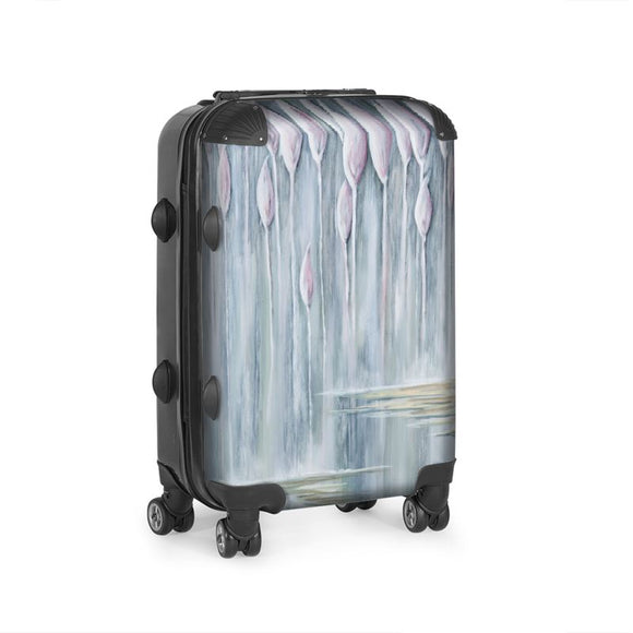 Cabin size suitcase with the Bull Rush design by Elaine Tomlin Clonlea Design