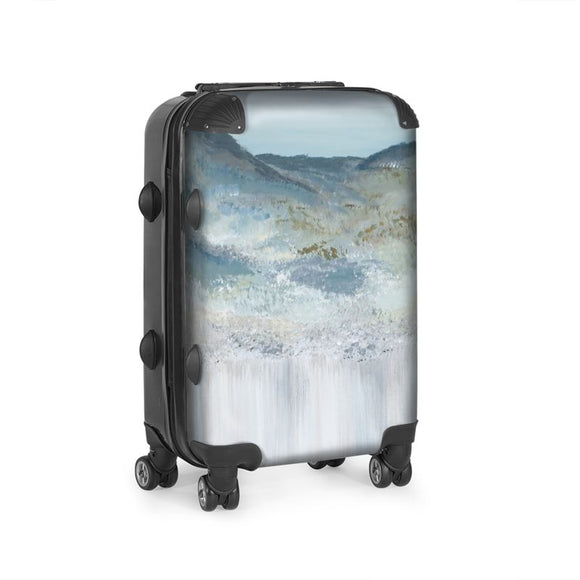 Cabin size suitcase with the Heather Mountain Design image by Elaine Tomlin Clonlea Design
