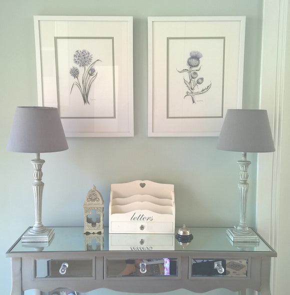 Botanicals fine art prints sage green blue violet  Clonlea Design Elaine Tomlin Agapanthis Spear Thistle Green Hall Table