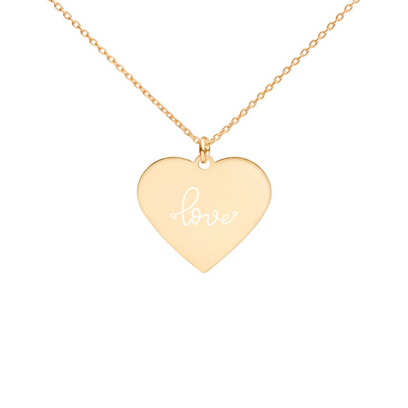 Heart Pendent Necklace Gold Siliver Rose Gold Eco Gift Engravement box