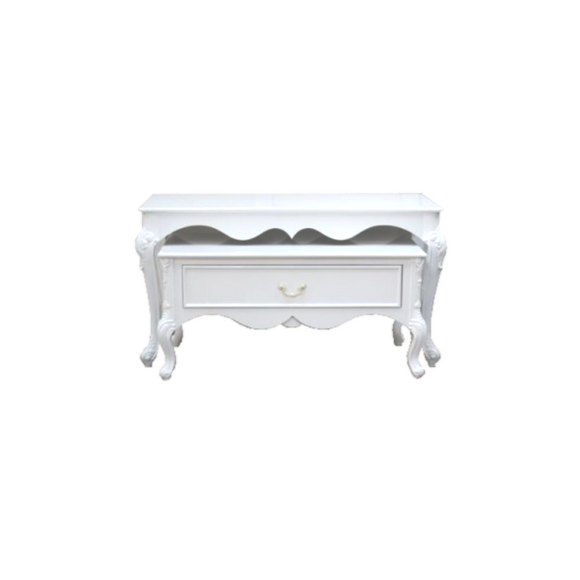 SET OF ORNAMENTAL WHITE TABLES