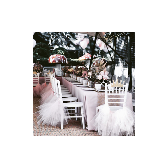 PINK TULLE CHAIR SKIRTS