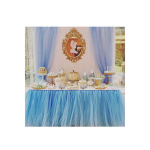BLUE TULLE TABLE SKIRT