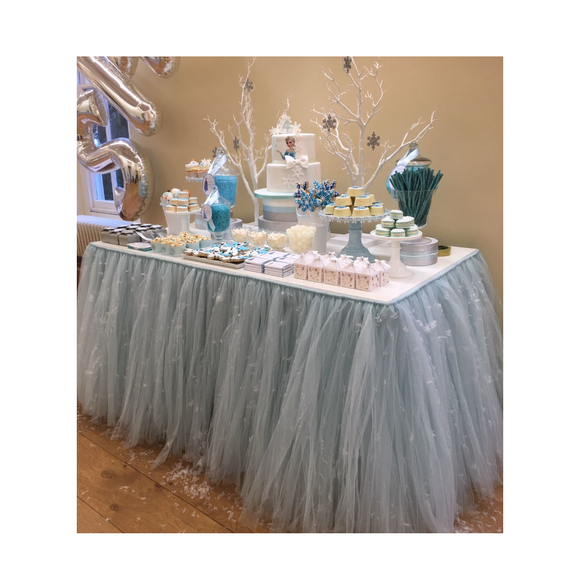 PALE BLUE TULLE TABLE SKIRT