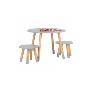 ROUND GREY TABLE AND STOOL SET