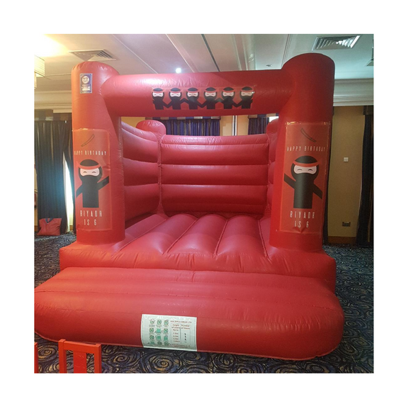 PLAIN RED BOUNCY CASTLE - PERSONALISED TO YOUR THEME