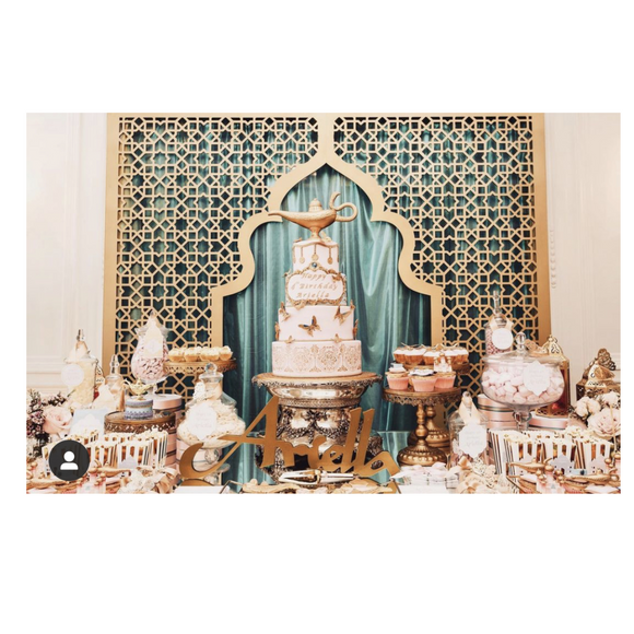 GOLD FRAME BACKDROP WITH BLUE FABRIC - ALADDIN