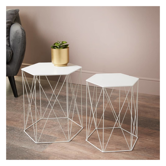 WHITE HEXAGON SIDE TABLES - SET OF 2