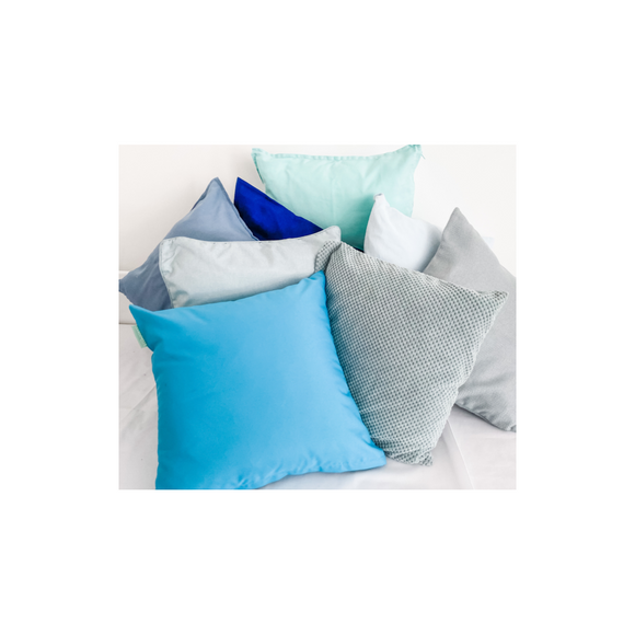SELECTION OF BLUE/GREY CUSHIONS
