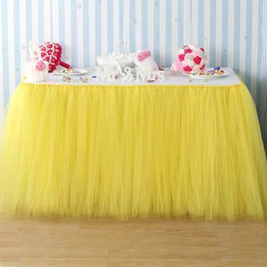 YELLOW TULLE TABLE SKIRT