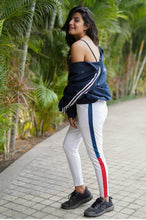 Load image into Gallery viewer, Striped White Sports Leggings | Lycra | Active wear