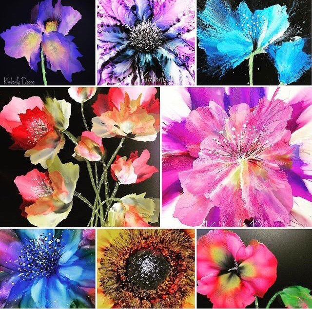 how to paint a flower with alcohol inks