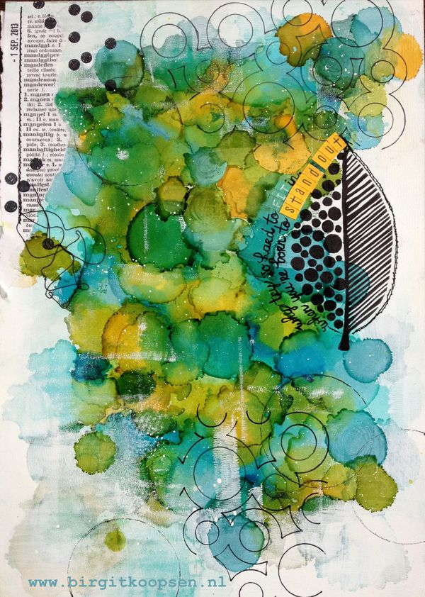 acrylic ink over alcohol ink