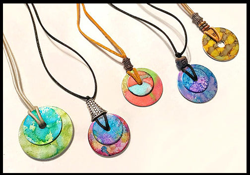painting metal washers with alcohol ink