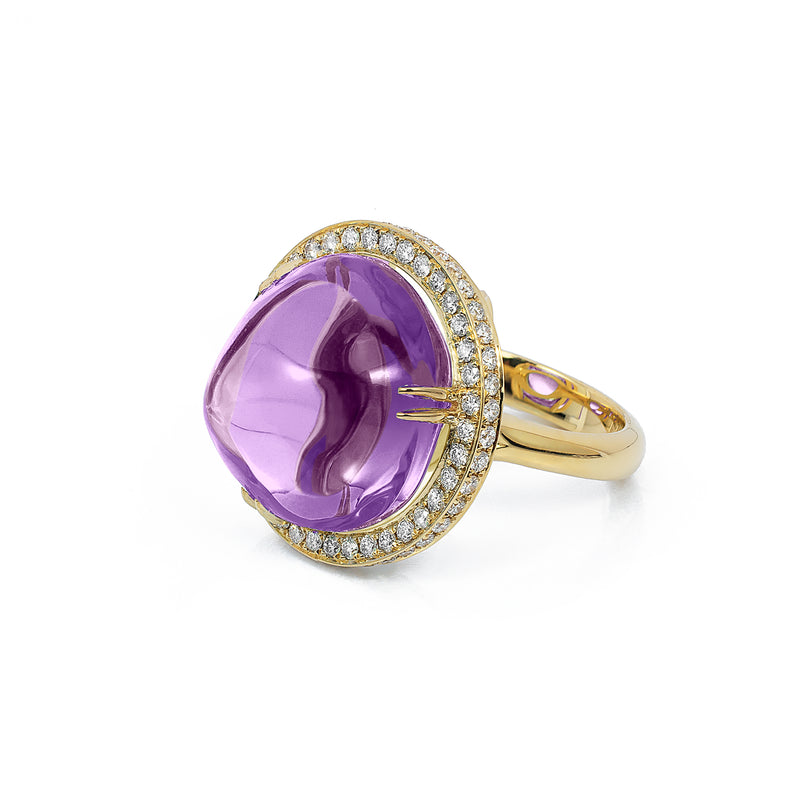 Amethyst Uneven Round Ring