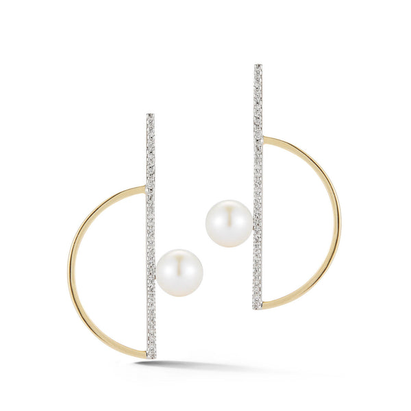 Diamond and Pearl Semicircle Earrings