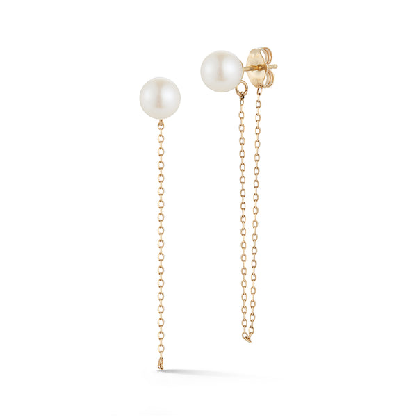 Pearl Studs with Chain Drop Earring